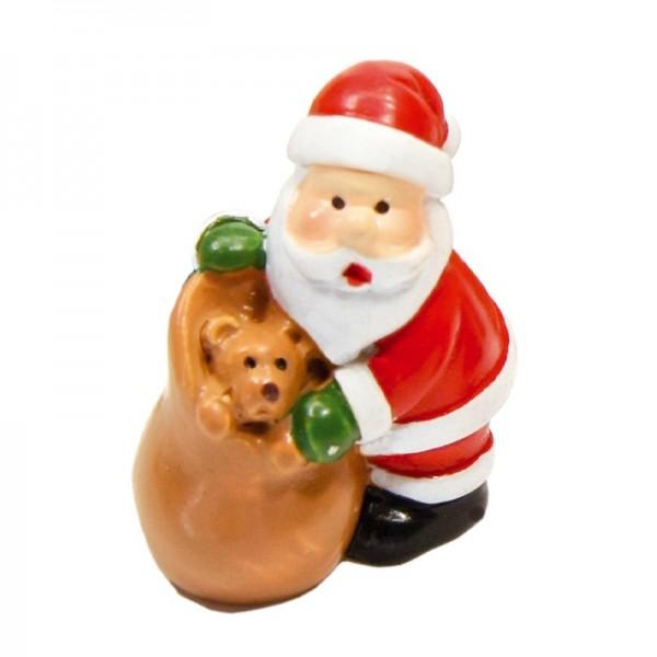 Deko-Weihnachtsmänner mit Sack, 3 x 2,5 cm, 5er Set