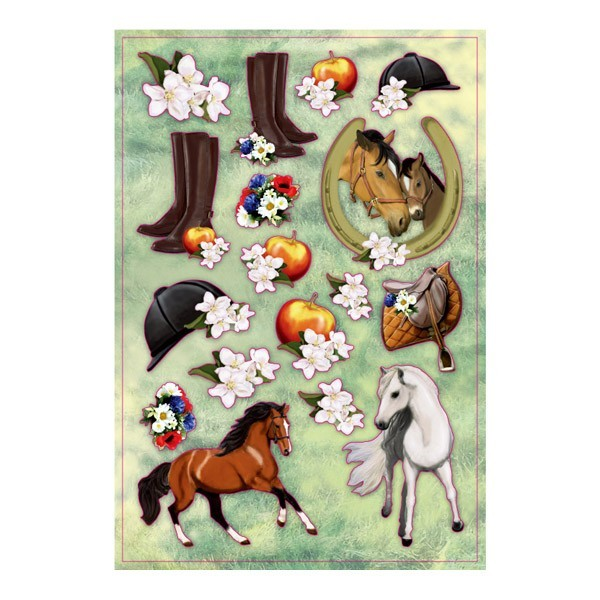 3-D Stickerbogen, Pferde, 12,5 x 18,5 cm