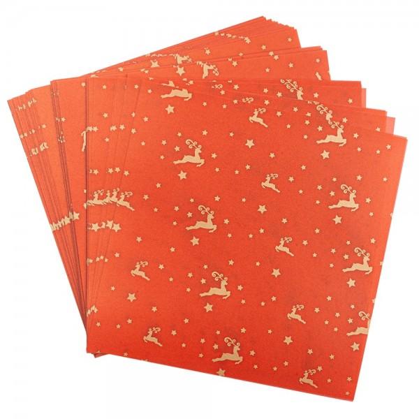Faltpapiere, transparent, Hirsche, 15cm x 15cm, 110 g/m², rot/gold, 100 Stück