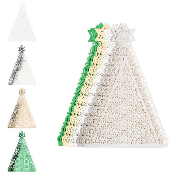 Laser-Kartenaufleger, Tannenbaum, 10,3cm x 14,8cm, 4 Farbtöne, 20 Stück