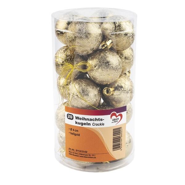 Weihnachtskugeln, Crackle, Ø 4cm, hellgold, 20 Stück