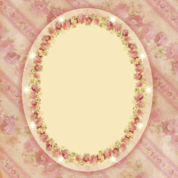 Lichteffekt-Grußkarte Rosenpassepartout oval, 16 x 16 cm