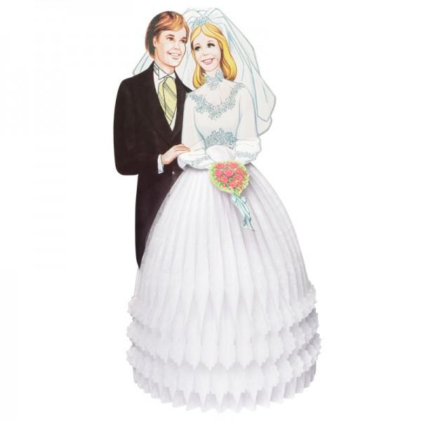 Waben-Deko aus Papier, Brautpaar, 36 x 16,2 cm