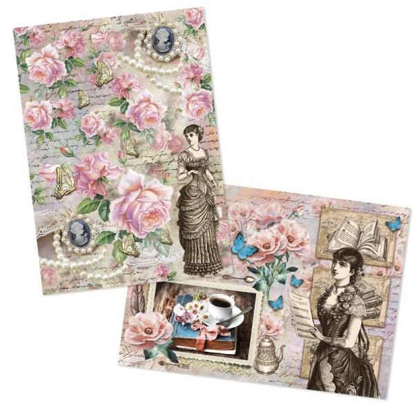"""Reispapiere, Nostalgie """"Blüten 6"""", DIN A4, 2 Designs"""