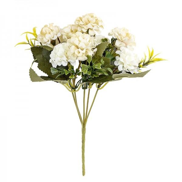 Blütenbusch, Hortensien 1, 27cm hoch, 9 große Blüten Ø 4cm, weiß