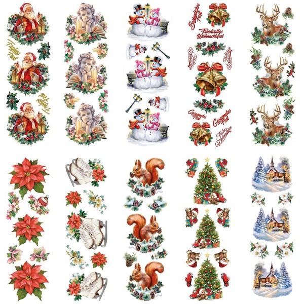 Stickerbogen, Transparent, Nostalgie-Weihnachten, versch. Designs,  10cm x 30cm, 10 Bogen