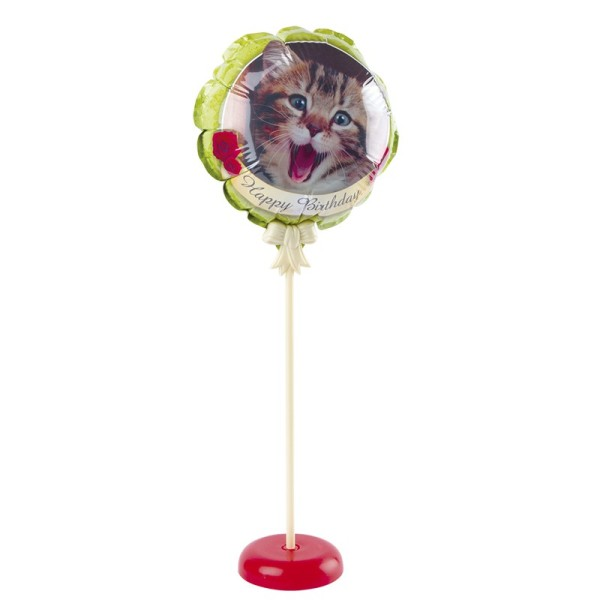Zauber-Ballon mit Stab & Podest, Ø 11,5 cm, 31,5 cm hoch, Happy Birthday