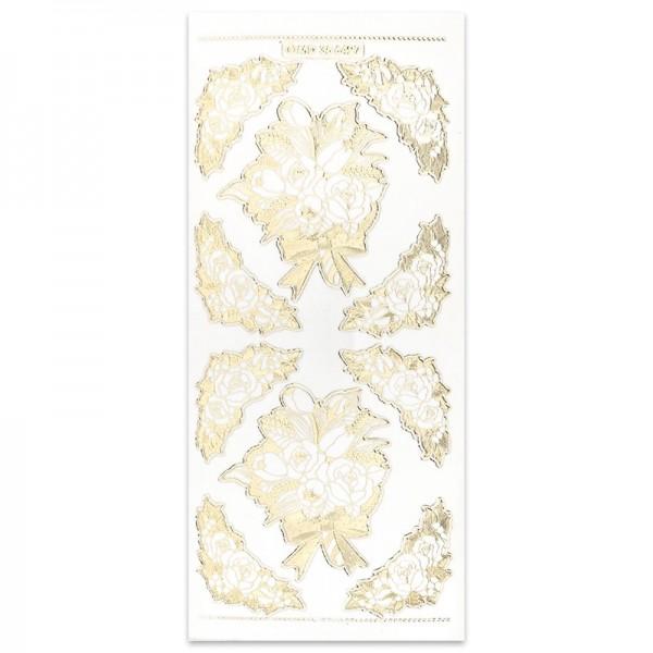Gravur-Sticker Blütenornamente, gold