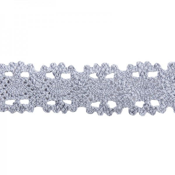 Häkelspitze Design 10, 3,2cm breit, 2m lang, blaugrau