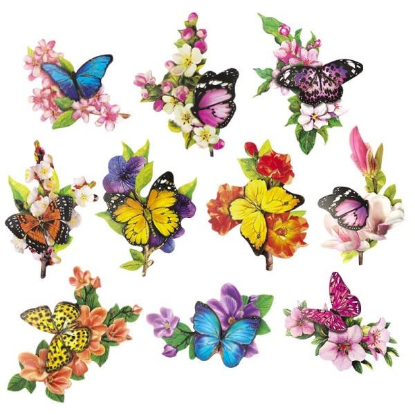3-D Motive, Schmetterlinge auf Zweigen, 6-12 cm, 10 Motive