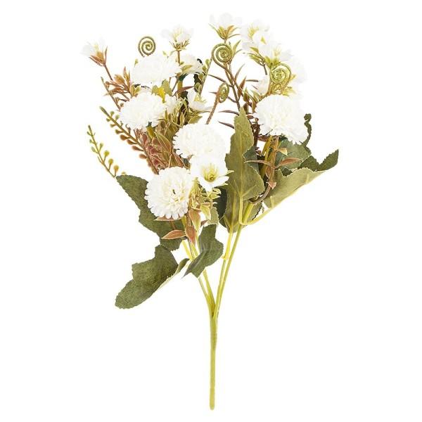 Blütenbusch, Mini-Hortensien, 28cm hoch, 10 große Blüten Ø 3cm, weiß