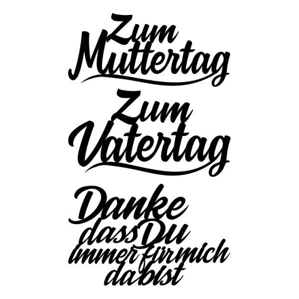 Stanzschablonen, Schriften, Muttertag & Vatertag, 3,8cm bis 8,2cm,, 3 Stück