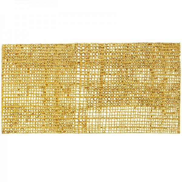 Wachsnetz, 20x10cm, gold mit Glitter