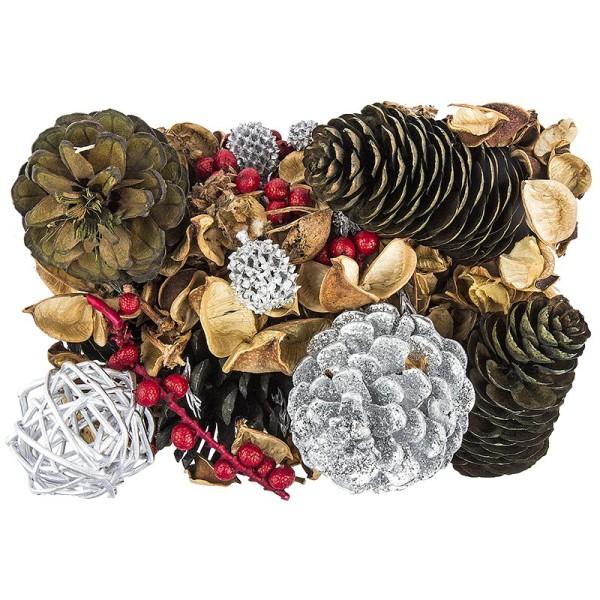 Edel-Potpourri, Weihnachten 1, 200g, silber, grün, rot, braun
