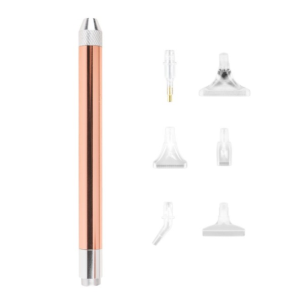 LED-Diamond-Painting-Pen, 14cm lang, Ø 1,2cm, 6 versch. Aufsätzen, 7-teilig