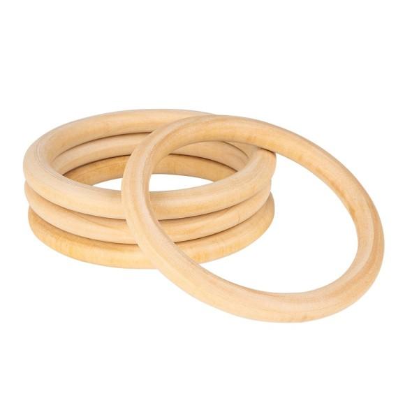 Holzringe, außen: Ø 10cm, Stärke: 10mm, naturfarben, 4 Stück