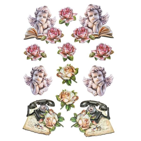 3-D Relief-Sticker, Vintage-Rosengrüße 5, verschiedene Größen, selbstklebend