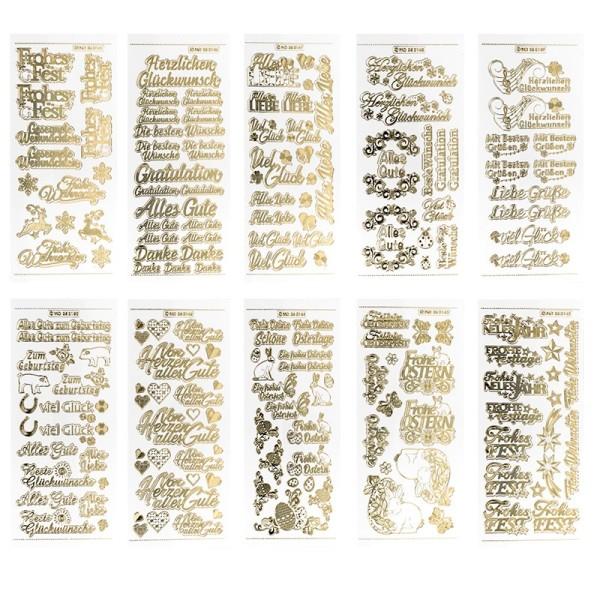Gravur-Stickerbogen, Gratulationen, 10cm x 23cm, transparent/gold, 10 Bogen