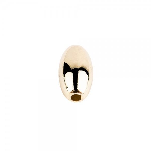 Perlen, Oval 1, 0,6cm x 1,1cm, hellgold, 230 Stück