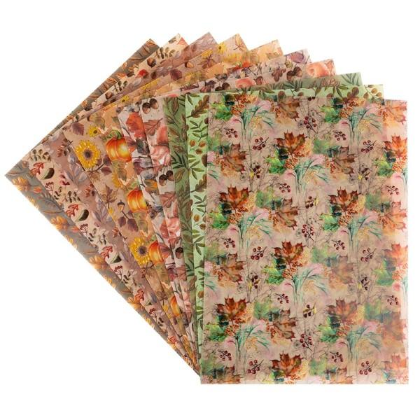Motiv-Transparentpapiere Deluxe, Herbst, DIN A4, versch. Designs, 10 Bogen