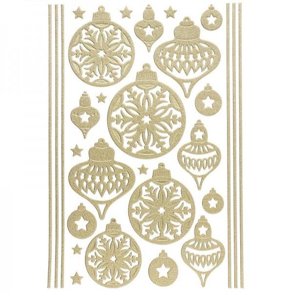 3-D Sticker, Deluxe Weihnachtskugeln, verschiedene Größen, selbstklebend, gold
