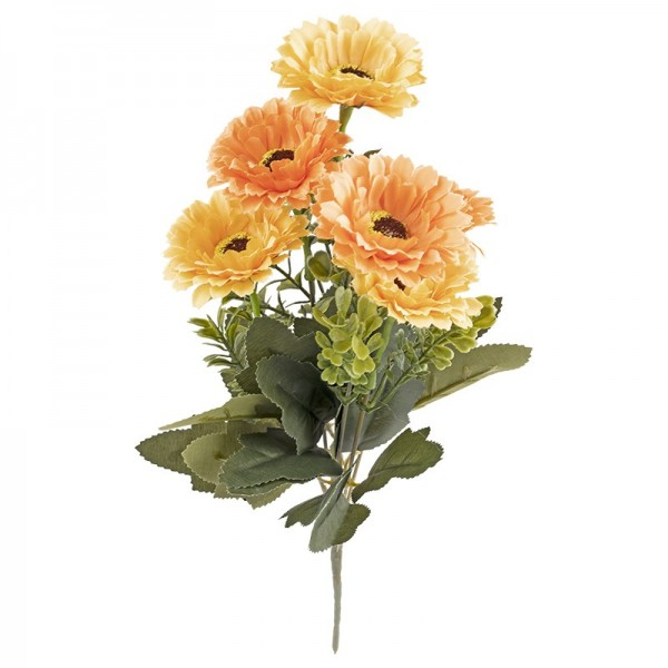 Blütenbusch, Chrysanthemen 1, 32cm hoch, 6 große Blüten, Ø 6cm, Orangetöne