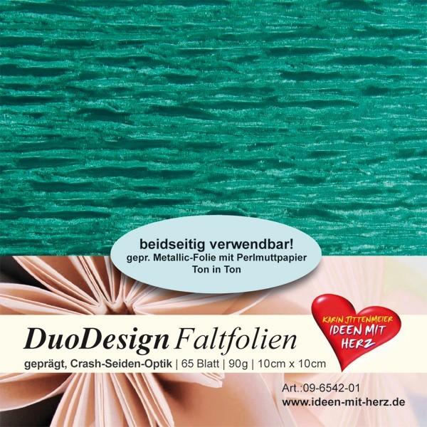 DuoDesign Faltfolien, Seiden-Optik, 10 x 10 cm, 65 Blatt, türkis