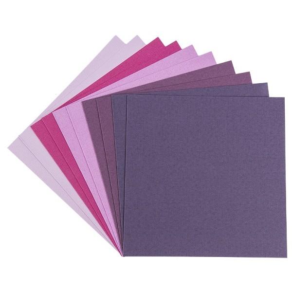 """Grußkarten """"Anna"""" in Leinen-Optik, 16x16cm, 5 Farben, Beerentöne, inkl. Umschläge, 10 Stück"""