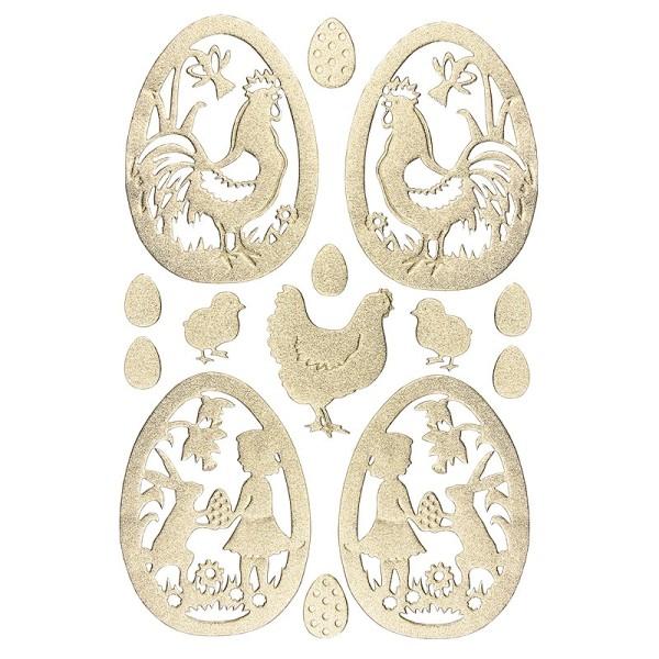3-D Sticker, Deluxe Ostereier, selbstklebend, gold