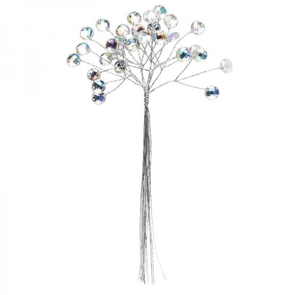 Deko-Kristallzweige, rund, 19cm, silber hinterlegt, klar, irisierend, 10 Stück