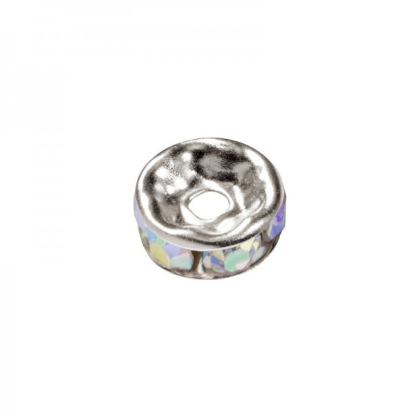 Strass-Rondell mit Strass-Steinen, Ø0,8 cm, 10 Stück, silber/mondstein irisierend