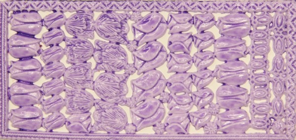 Wachsornament-Platte Tulpen, 16 x 8 cm, hellflieder