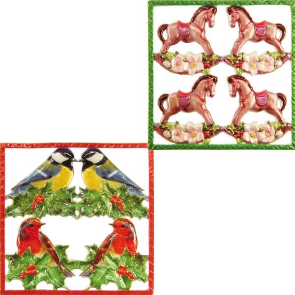 Wachsornament-Platten, farbig, Vogel & Schaukelpferd, 2er Set