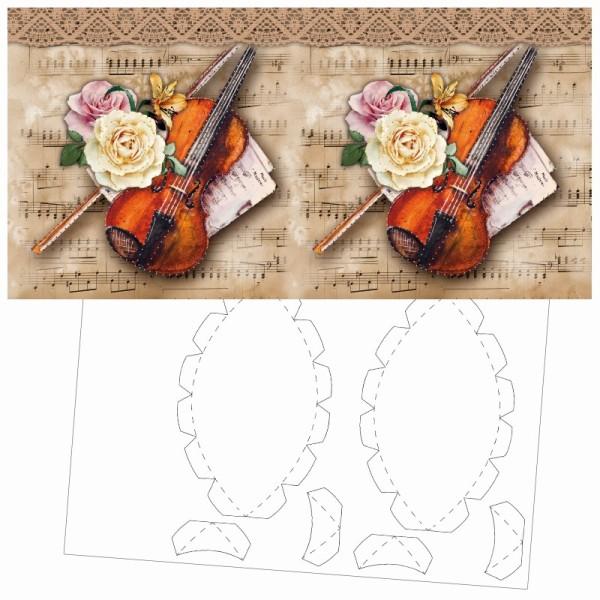 Prickel-Karte, Geige, inkl. Böden & Ecken, 16cm x 16cm