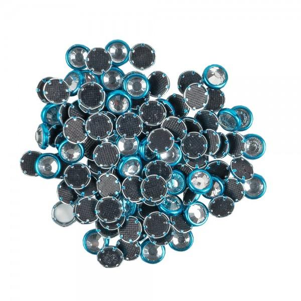 Hot-Fix Glas-Kristalle zum Aufbügeln, Ø 5mm, türkis, 100 Stück
