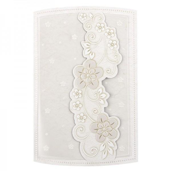 Exquisit-Grußkarten mit Top-Prägung, 16,7 x 10,9 cm, 10 Stück, natur mit Transparentpapier