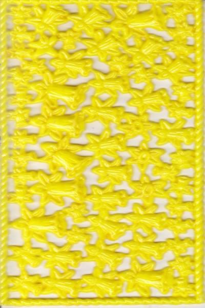 Wachsornament-Platte Narzissen, 16 x 8 cm, gelb