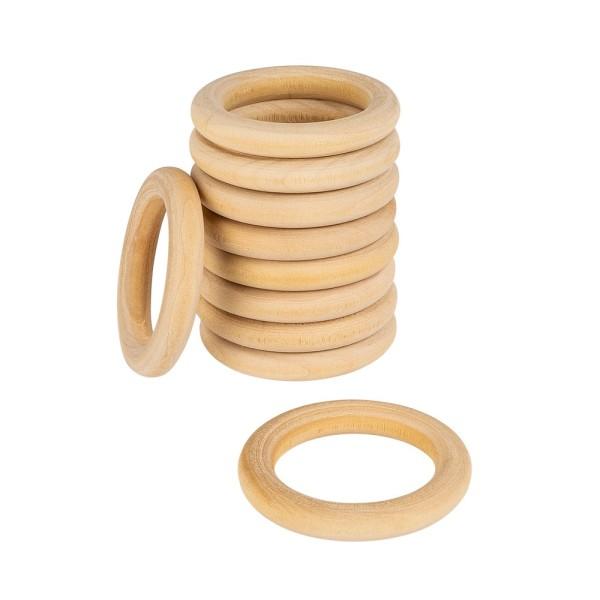 Holzringe, außen: Ø 5cm, Stärke: 8mm, naturfarben, 10 Stück