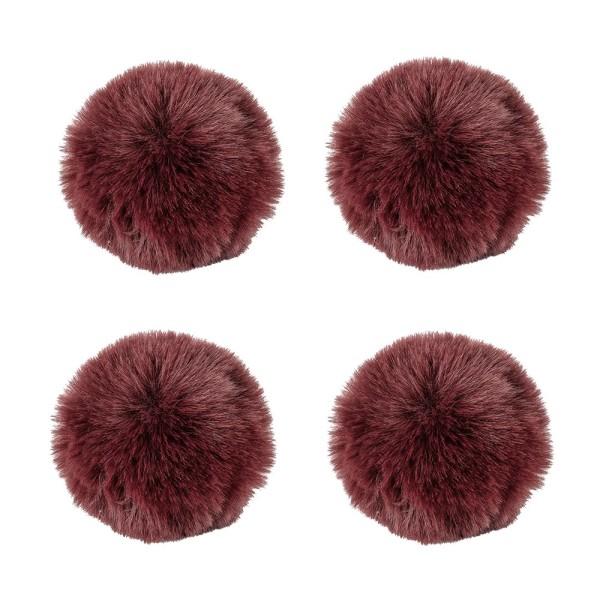 Fell-Pompons, Ø 8cm, dunkelrot, 4 Stück