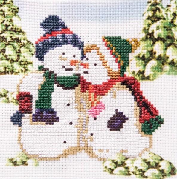 Stickbild-Set, malerischer Hintergrund,  14,5x14,5cm, Schneemänner