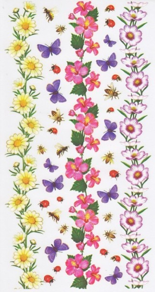 Rubbel-Sticker-Bogen, Blumenbordüren 2