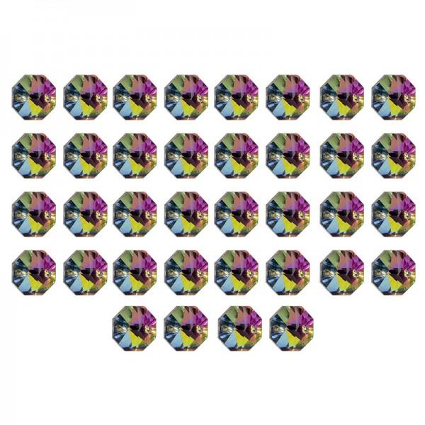 Glaskunst, Koppen, Octagon, Ø 1,2cm, facettiert, taupe irisierend/silberfarbene Rückseite, 36 Stück
