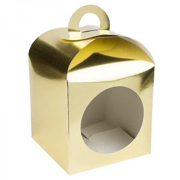 Faltboxen mit Kreis-Ausstanzung, geklebt, 11,5cm x 11,5cm x 11,5cm, Spiegelkarton, gold, 10 Stück