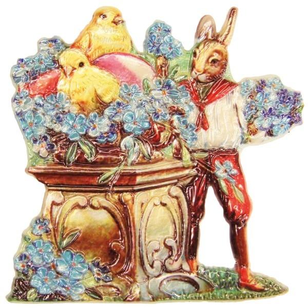 Wachsornament Hase mit Blumentisch, 7,5 x 7,5 cm