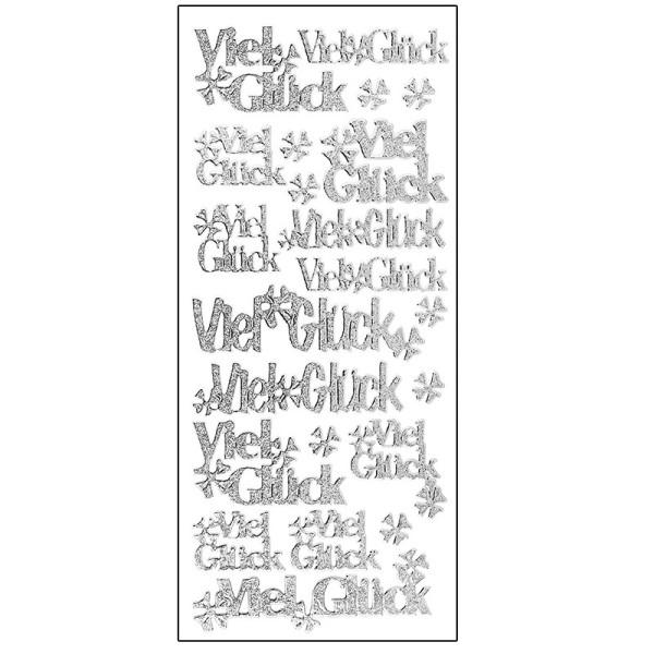 Microglitter-Sticker, Viel Glück/Kleeblatt, silber