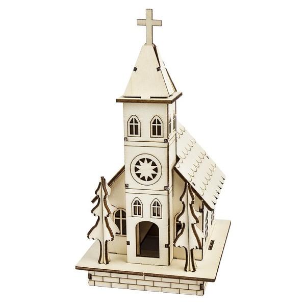 Kirche, Holz, zum Zusammenbauen, 22,5cm x 11,5cm x 13,5cm