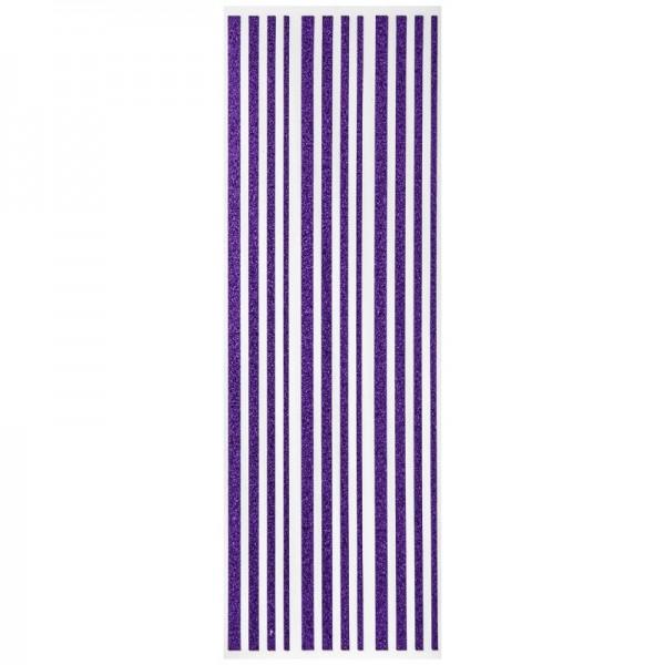 Glitzer-Bordüren, Sticker-Linien, 30 cm lang, 3-6 mm, violett