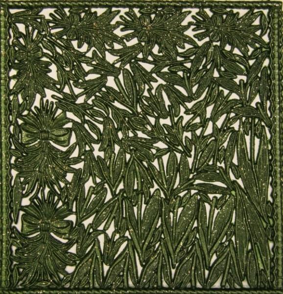 Wachsornament-Platte Blumenstengel, 16 x 16 cm, oliv