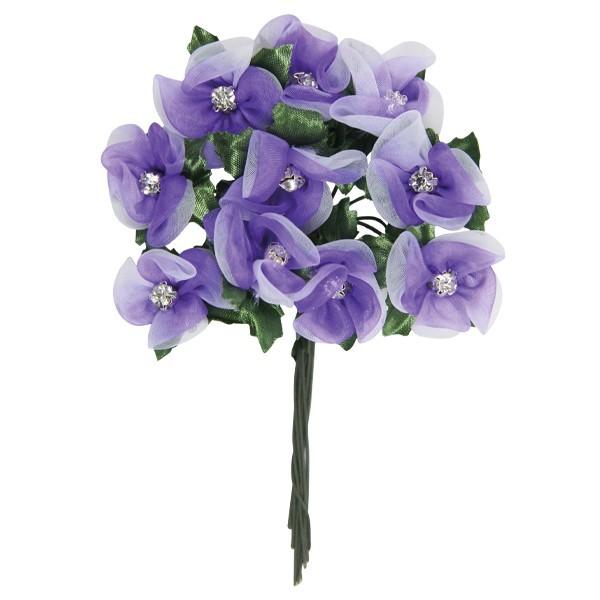 Deko-Blumen mit Strass-Blüte, weiß/flieder, 10er Set