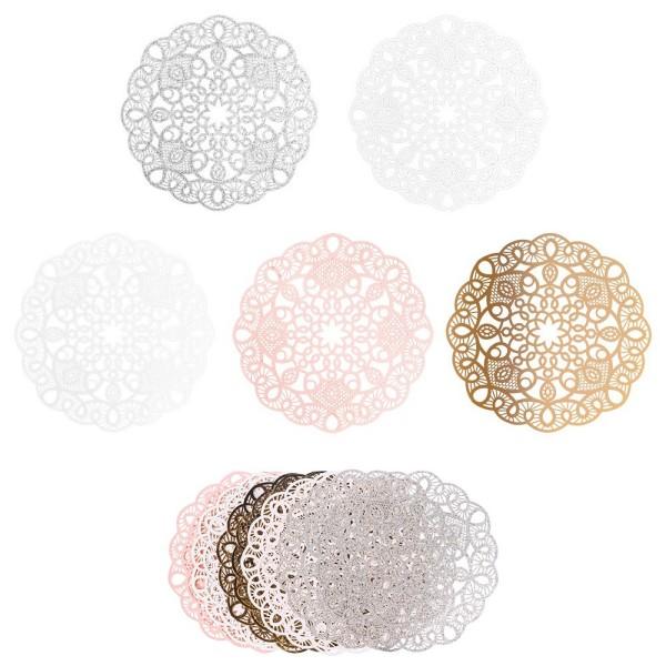 XL-Laser-Ornamente, Zierdeckchen 12, verschiedene Farben, Ø 20cm, 10 Stück